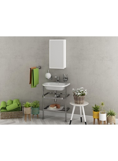 Sanal Mobilya Maxima Aynalı Banyo Etejeri Beyaz